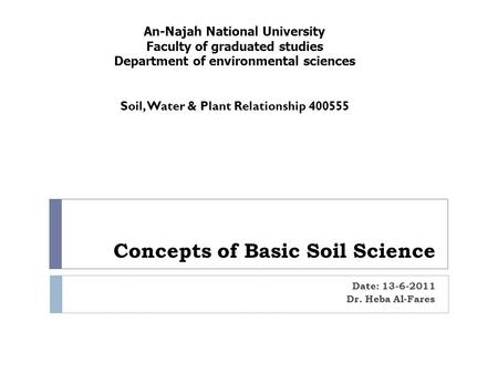 Concepts of Basic Soil Science