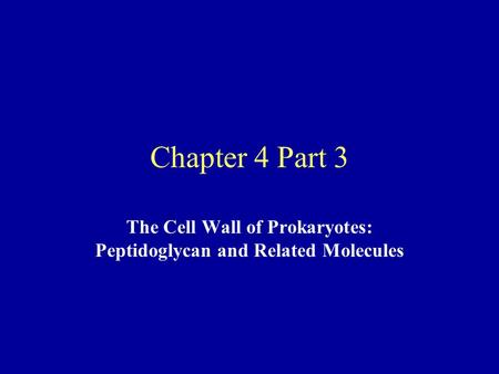 Chapter 4 Part 3 The Cell Wall of Prokaryotes: Peptidoglycan and Related Molecules.