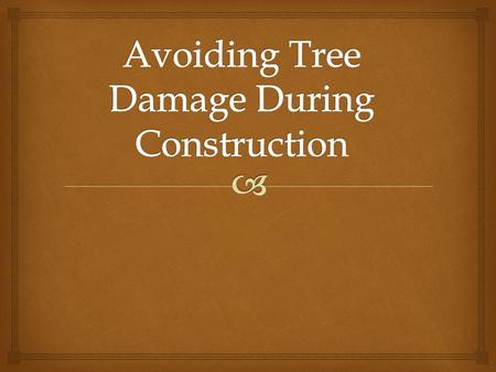   Physical injury to the trunk and crown – construction equipment can injure the above-ground portion of a tree by breaking branches, tearing the.