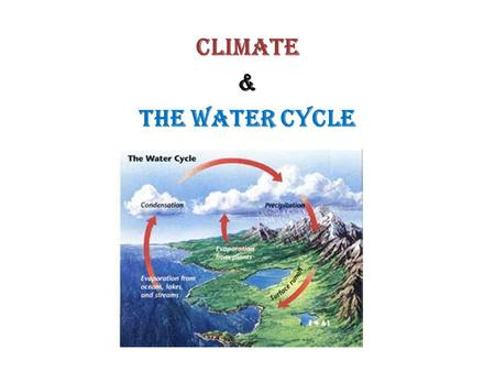 CLIMATE & The Water Cycle. Climate I. Earth's Energy A. Transfer of energy 1. convection- the movement of energy caused by differences in density 2. conduction-