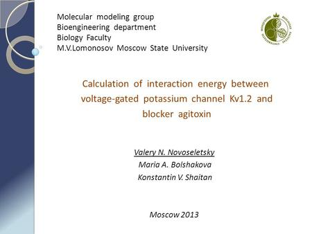 Calculation of interaction energy between voltage-gated potassium channel Kv1.2 and blocker agitoxin Valery N. Novoseletsky Maria A. Bolshakova Konstantin.