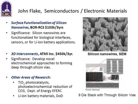 John Flake, Semiconductors / Electronic Materials Surface Functionalization of Silicon Nanowires, BOR-RCS $103k/3yrs Significance: Silicon nanowires are.