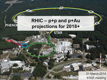 1 RHIC – p+p and p+Au projections for 2018+ 21 March 2014 STAR meeting.