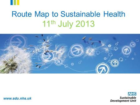 Www.sdu.nhs.uk Route Map to Sustainable Health 11 th July 2013.