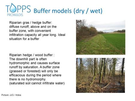 Buffer models (dry / wet) Riparian gras / hedge buffer: diffuse runoff, above and on the buffer zone, with convenient infiltration capacity all year long.