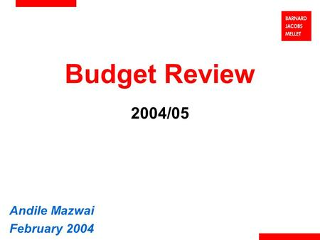 Budget Review 2004/05 Andile Mazwai February 2004.