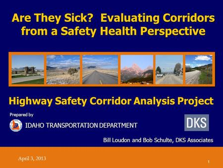 Are They Sick? Evaluating Corridors from a Safety Health Perspective Bill Loudon and Bob Schulte, DKS Associates Prepared by IDAHO TRANSPORTATION DEPARTMENT.
