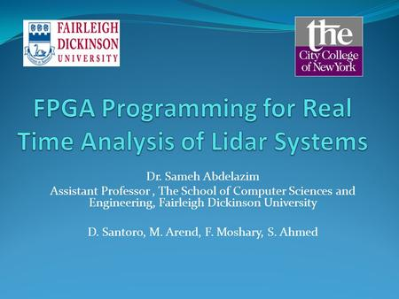 FPGA Programming for Real Time Analysis of Lidar Systems