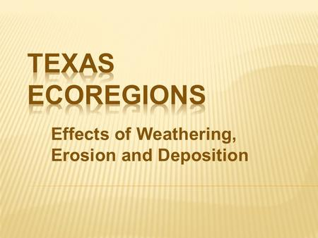 Effects of Weathering, Erosion and Deposition. WHAT IS AN ECOREGION?  Ecoregion - a major ecosystem with distinctive geography, characteristic plants.