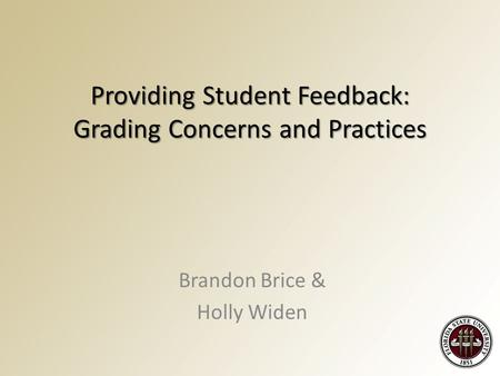 Providing Student Feedback: Grading Concerns and Practices Brandon Brice & Holly Widen.