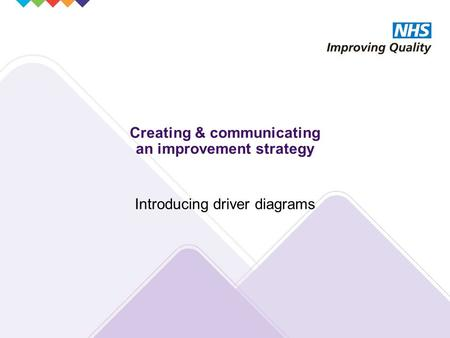 Creating & communicating an improvement strategy Introducing driver diagrams.