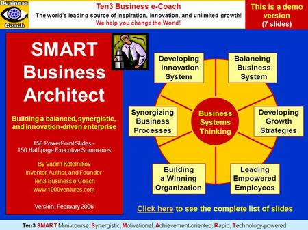 SMART Business Architect Building a balanced, synergistic, and innovation-driven enterprise 150 PowerPoint Slides + 150 Half-page Executive Summaries By.