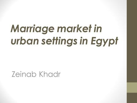 Marriage market in urban settings in Egypt Zeinab Khadr.