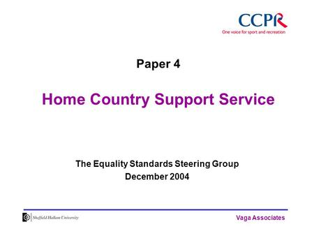 Vaga Associates Paper 4 Home Country Support Service The Equality Standards Steering Group December 2004.