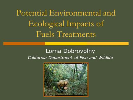 Potential Environmental and Ecological Impacts of Fuels Treatments Lorna Dobrovolny California Department of Fish and Wildlife.