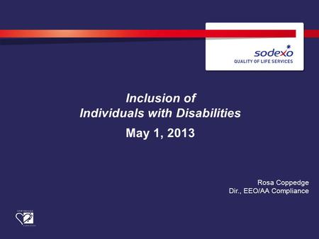 Inclusion of Individuals with Disabilities May 1, 2013 Rosa Coppedge Dir., EEO/AA Compliance.