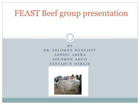 BY DR. SOLOMON MENGISTU ADDISU ABERA SOLOMON ABEYI FANTAHUN DEREJE FEAST Beef group presentation.
