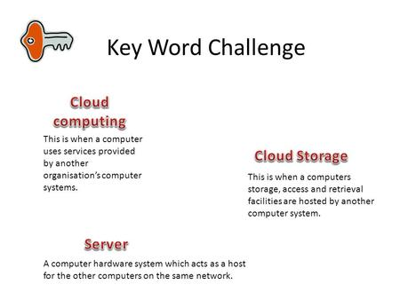 Key Word Challenge This is when a computer uses services provided by another organisation's computer systems. A computer hardware system which acts as.