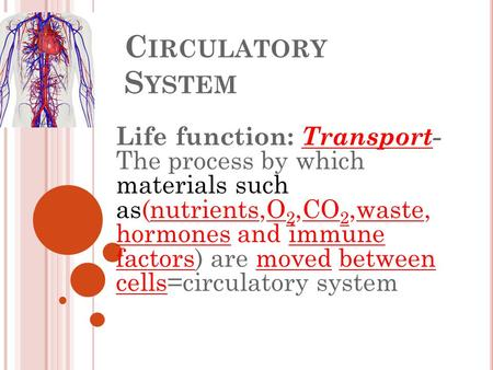 C IRCULATORY S YSTEM Life function: Transport- The process by which materials such as(nutrients,O 2,CO 2,waste, hormones and immune factors) are moved.