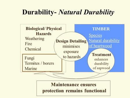 Durability- Natural Durability Biological/ Physical Hazards Weathering Fire Chemical TIMBER Species Natural durability of heartwood Maintenance ensures.