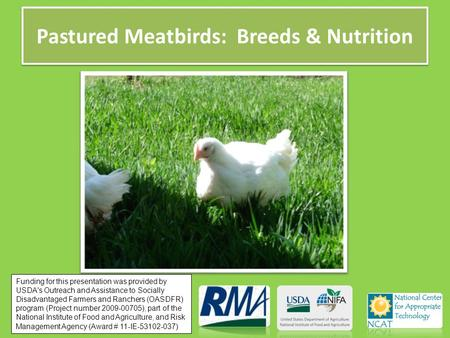 Pastured Meatbirds: Breeds & Nutrition Funding for this presentation was provided by USDA's Outreach and Assistance to Socially Disadvantaged Farmers and.