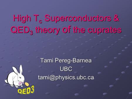 High T c Superconductors & QED 3 theory of the cuprates Tami Pereg-Barnea