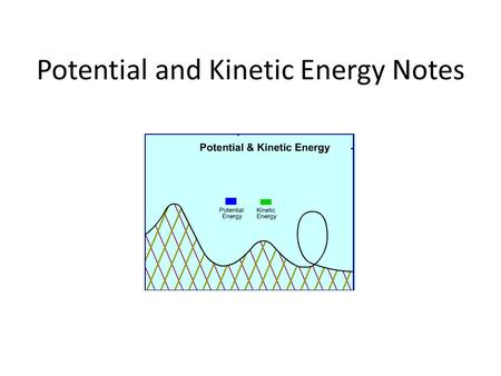 Potential and Kinetic Energy Notes. Three examples of potential energy are elastic potential energy, chemical energy, and gravitational potential energy.