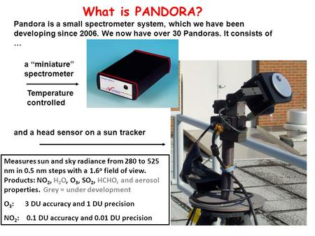 And a head sensor on a sun tracker What is PANDORA? Pandora is a small spectrometer system, which we have been developing since 2006. We now have over.