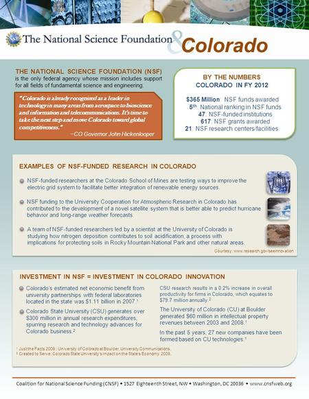 BY THE NUMBERS COLORADO IN FY 2012 $365 Million: NSF funds awarded 5 th : National ranking in NSF funds 47: NSF-funded institutions 617: NSF grants awarded.