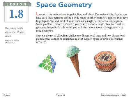J.R. Leon Chapter 1.8 Discovering Geometry - HGHS.