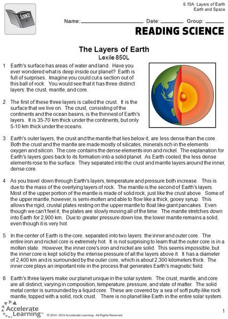 1 The Layers of Earth Lexile 850L 1Earth's surface has areas of water and land. Have you ever wondered what is deep inside our planet? Earth is full of.