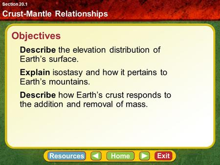 Objectives Describe the elevation distribution of Earth's surface. Explain isostasy and how it pertains to Earth's mountains. Describe how Earth's crust.