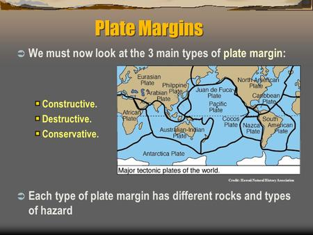 Plate Margins  We must now look at the 3 main types of plate margin: Constructive. Destructive. Conservative.  Each type of plate margin has different.