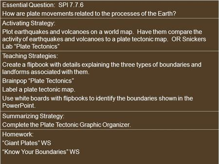 Essential Question: SPI 7.7.6 How are plate movements related to the processes of the Earth? Activating Strategy: Plot earthquakes and volcanoes on a world.