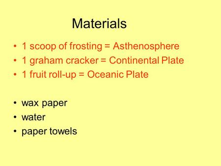 Materials 1 scoop of frosting = Asthenosphere 1 graham cracker = Continental Plate 1 fruit roll-up = Oceanic Plate wax paper water paper towels.