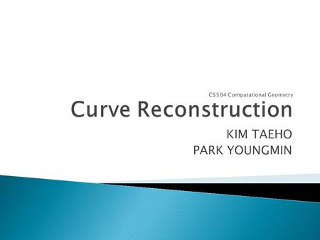 KIM TAEHO PARK YOUNGMIN.  Curve Reconstruction problem.