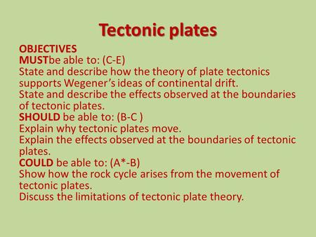 Tectonic plates OBJECTIVES MUSTbe able to: (C-E) State and describe how the theory of plate tectonics supports Wegener's ideas of continental drift. State.