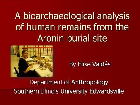 A bioarchaeological analysis of human remains from the Aronin burial site By Elise Valdés Department of Anthropology Southern Illinois University Edwardsville.