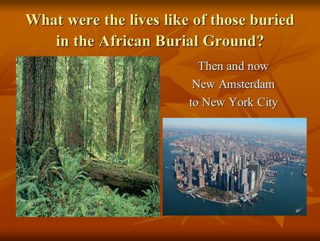 What were the lives like of those buried in the African Burial Ground? Then and now New Amsterdam to New York City.