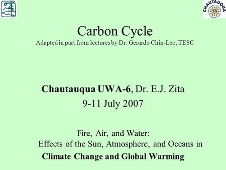 Carbon Cycle Adapted in part from lectures by Dr. Gerardo Chin-Leo, TESC Chautauqua UWA-6, Dr. E.J. Zita 9-11 July 2007 Fire, Air, and Water: Effects of.