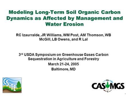 1 Modeling Long-Term Soil Organic Carbon Dynamics as Affected by Management and Water Erosion RC Izaurralde, JR Williams, WM Post, AM Thomson, WB McGill,