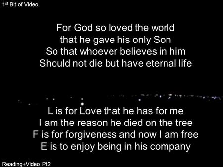 For God so loved the world that he gave his only Son So that whoever believes in him Should not die but have eternal life L is for Love that he has for.