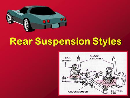 Rear Suspension Styles. CBC Auto JF Rear wheel drive.