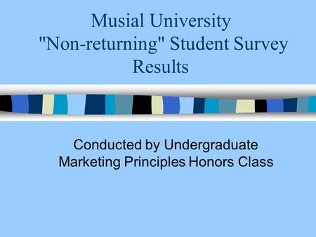 Musial University Non-returning Student Survey Results Conducted by Undergraduate Marketing Principles Honors Class.
