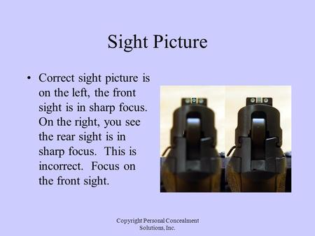 Copyright Personal Concealment Solutions, Inc. Sight Picture Correct sight picture is on the left, the front sight is in sharp focus. On the right, you.