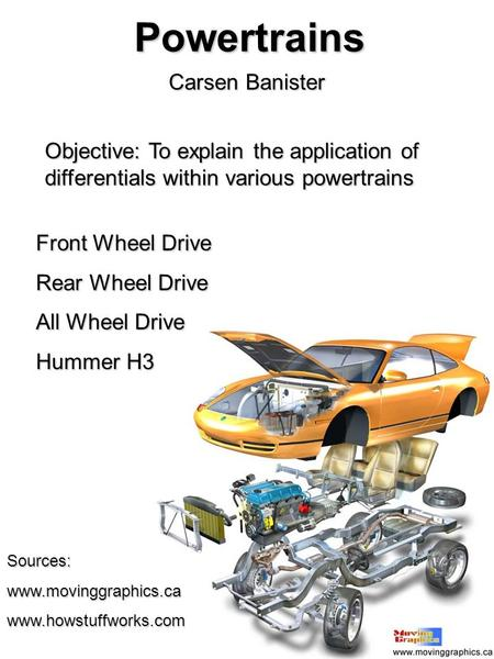 Powertrains Carsen Banister Objective: To explain the application of differentials within various powertrains Front Wheel Drive Rear Wheel Drive All Wheel.