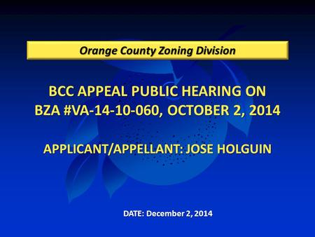 BCC APPEAL PUBLIC HEARING ON BZA #VA-14-10-060, OCTOBER 2, 2014 APPLICANT/APPELLANT: JOSE HOLGUIN Orange County Zoning Division DATE: December 2, 2014.