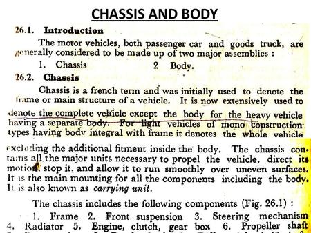 CHASSIS AND BODY.