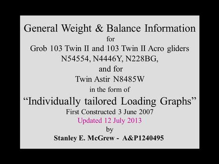 General Weight & Balance Information for Grob 103 Twin II and 103 Twin II Acro gliders N54554, N4446Y, N228BG, and for Twin Astir N8485W in the form of.