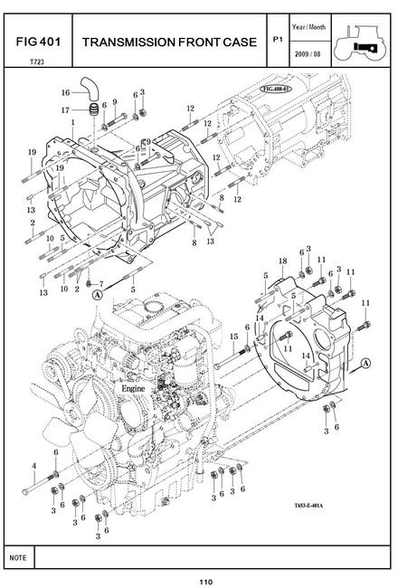2009 / 08 NOTE Year / Month T723 P1 FIG 401 TRANSMISSION FRONT CASE 110.